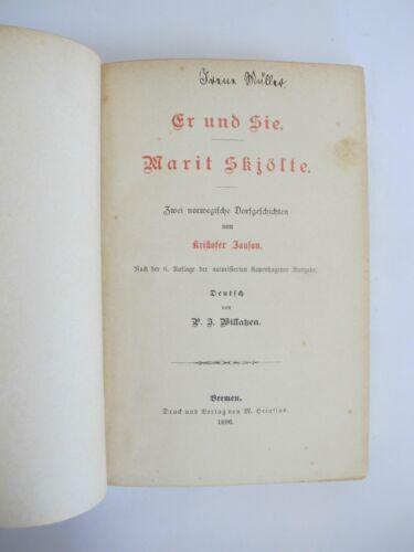 1886 Er und Sie Marit Skjölte 2 norwegische Dorfgeschichten von K Janson K2846