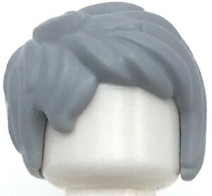 Lego Hair For Minifigure LIGHT GREY Short Hair Tousled with Side Part NEW