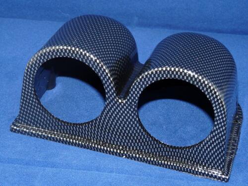 """Double Gauge Bracket 2/"""" or 52mm Carbon Fiber Look  housing Pod Holder Meter"""
