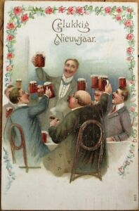 Men-Toasting-w-Mugs-of-Beer-1911-New-Year-Postcard-Embossed-Color-Litho