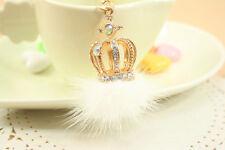 Fashion Lovely Crown Hairball Crystal Keychain Keyring Handbag Accessory Pendant
