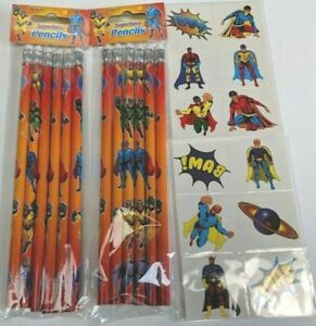 Super Hero Temporary Tattoos Birthday Party Bag Filler Kids 12