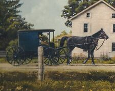 Amish Farm - White Barn - Buggy & Horse - ONLY $6 - Wallpaper Border A031