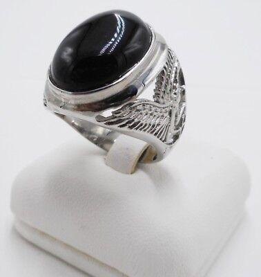 Gemstone Cuban Curb Link Chain Black Onyx Square Signet Ring For Mens Biker Heavy 925 Sterling Silver Handmade In Turkey