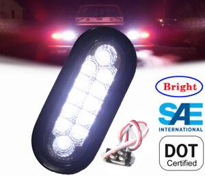 4ecbbad1f0 Bright WHITE Oval Back-up Reverse Fog LED Light Clear Grommet Plug ...