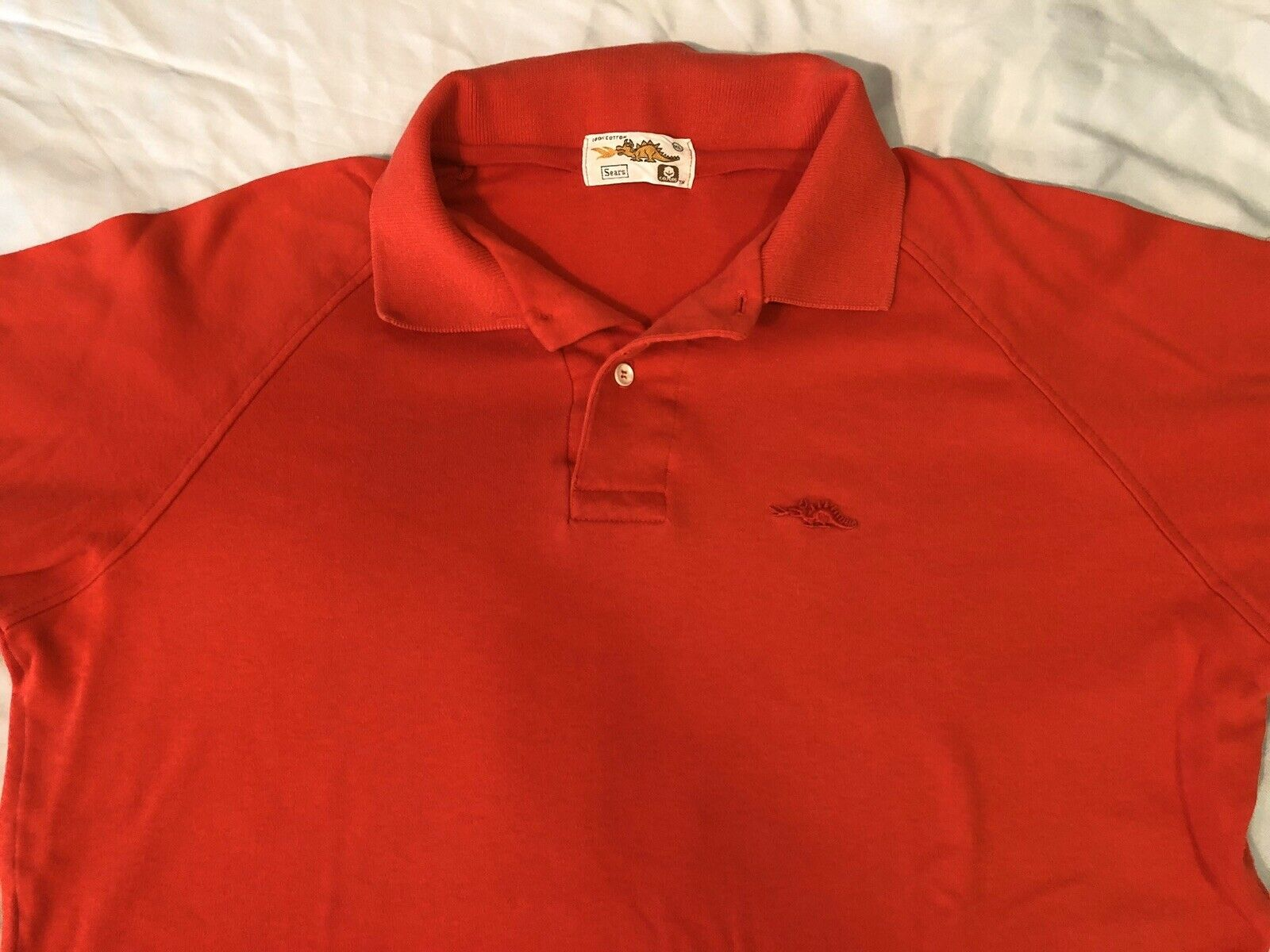 Vintage 1980s 80s Sears Dragon Polo T-Shirt, Red … - image 3