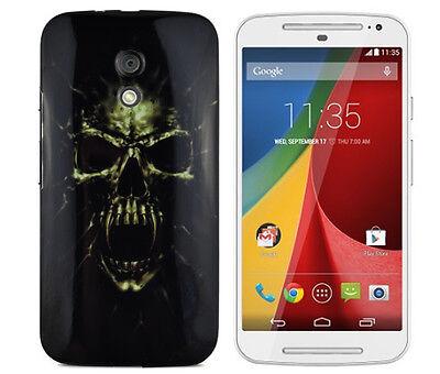 TPU Schutzhüllle f Motorola Moto G2 Case Cover Tasche Totenkopf Skull Zombie
