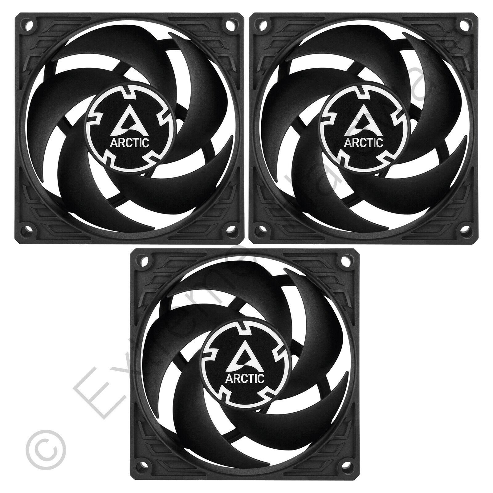 3x pack arctic p8 80mm pc case fans 3000 rpm 23.4 pcm 0.3 sone 12v 3