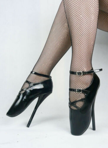 Black PVC Ankle High Ballet shoes Boots with straps corset high heals