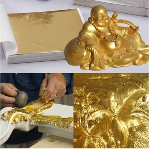 100X Gold//Silver//Copper Foil Leaf Paper Food Decor Edible Gilding Craft Newly