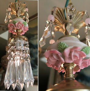 mini-chandelier-lamp-Brass-Swag-crystal-vintage-Porcelain-PINK-Rose-lighting-1o3