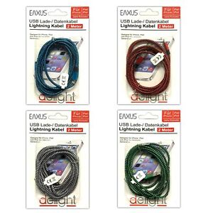 4er-Set-Lightning-USB-Ladekabel-Datenkabel-Nylon-2m-fuer-iPhone-iPad-Kabel