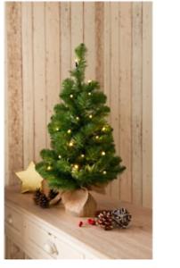 environ 0.61 m 2 FT Pré-éclairé vert Arbre de Noël avec de Hesse base et 25 Blanc Chaud DEL Lumières.