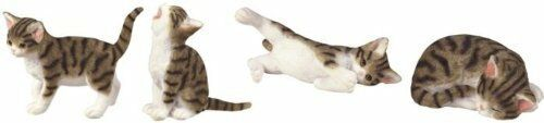Set of 4 Cat Figurine Collection Feline Animal Collectible Decoration, New, Free