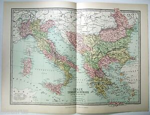 Original 1875 map of italy turkey in europe greece by j image is loading original 1875 map of italy turkey in europe gumiabroncs Choice Image