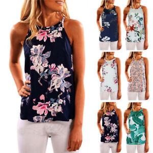 2018-Womens-Ladies-Sleeveless-Vest-Tank-Tops-Summer-Beach-Floral-Blouse-T-Shirt