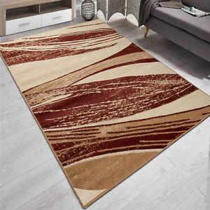 teppich beige braun kurzflor teppiche moderne gestreift 200x300 2x3 ebay. Black Bedroom Furniture Sets. Home Design Ideas