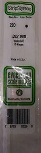 "Evergreen Strip Styrene 220 10 x .035"" (0.88 mm) Rod."