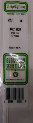 Evergreen Strip Styrene 220 10 x .035 (0.88 mm) Rod.