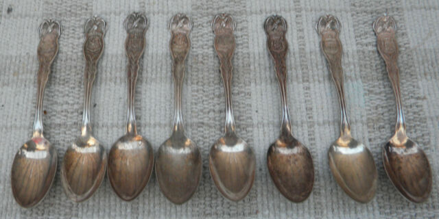 2 Antique Wm ROGERS MFG Co Silver Plated Spoon WISCONSIN