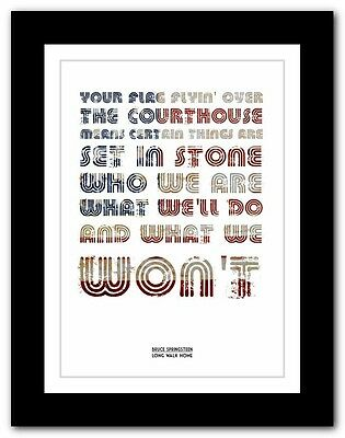 ❤ BRUCE SPRINGSTEEN - Long Walk Home ❤ poster typography art print - 4 sizes