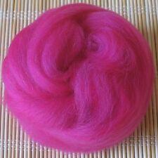100g Merino Wool Tops 64's Dyed Fibres - Fuchsia - Felt Making and Spinning