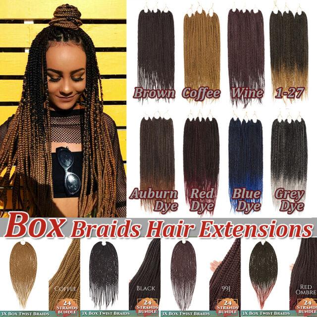 3d Box Braid Long Crochet Ombre Braiding Afro Braids Hair Extensions Women Men