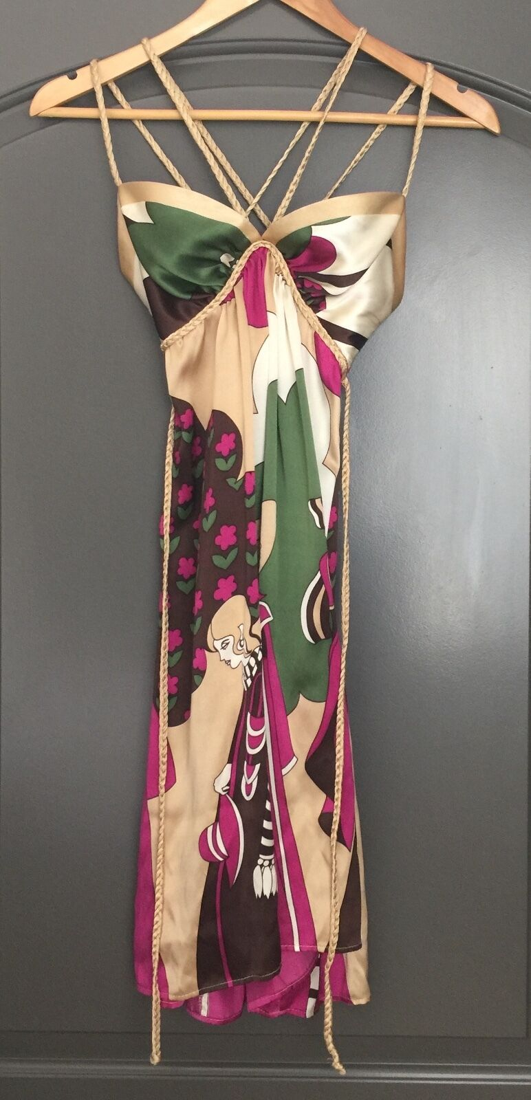 VOOM by Joy Han 100% Silk Cage Dress Braided Strappy gold Multi Print Sz SMALL