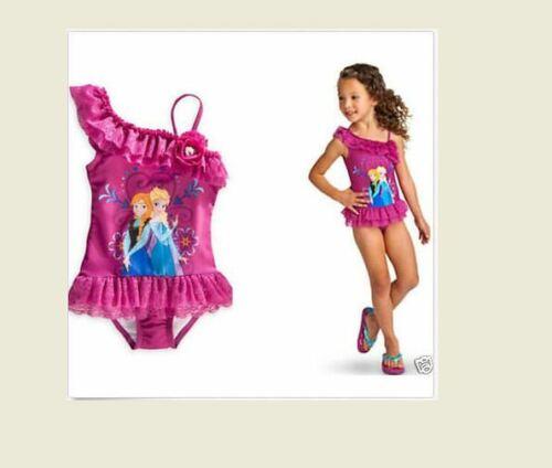 NEW Disney Frozen Elsa Anna Girls Swimsuit Pink Ruffle Choose Size