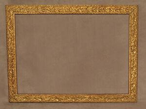 """1880s VINTAGE ANTIQUE DELICATE FLOWER & LEAF GOLD FRAME #120 11 5/8"""" X 15 1/4"""""""