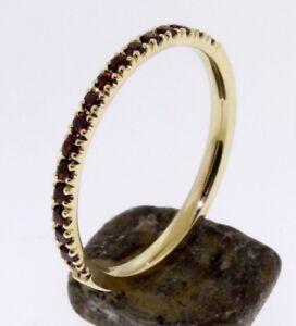 Half-Eternity-Garnet-Wedding-band-stacking-ring-comfort-fit-U-pave-setting-14K