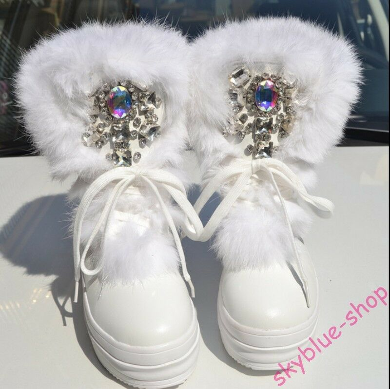 Womens Furry Fur Trim Luxury Rhinestone Lace Lace Lace Up Platform Wedge Heels Ankle Boots 7e22b3