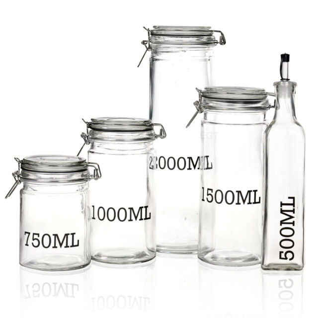 Large Glass Storage Jar With Air Tight Sealed Metal Clamp Lid Tall Kitchen  Cruet