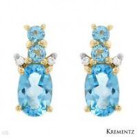 Brand Krementz Earrings W/1.32ctw Diamonds & Topaz