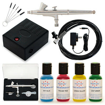 Complete Cake Decorating Airbrush Kit 4 Color Set Air Brush Supplies Machine