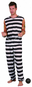 Mens Jail Bird Prisoner Black//White Striped Sleeves Tattoo Trousers Costume Suit