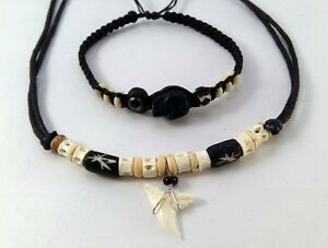 NEW REAL SHARK TOOTTH NECKLACE/&MENS BRACELET SET TOOTH SEA HIPPIE ROCK CHOKER