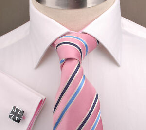 White-Herringbone-Twill-Dress-Shirt-Business-Formal-Pink-Poplin-Mens-French-Cuff