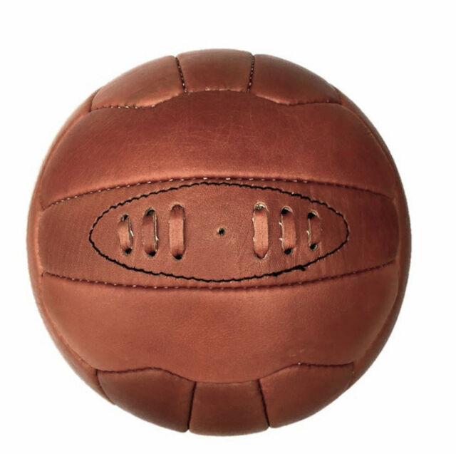 18 Panel Full Size Football Quality Leather Retro Vintage Style Soccer Ball