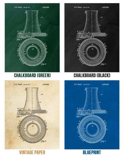 Nuclear Power Patent Posters Set of 4 Power Technician Engineer Gift