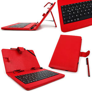 Red-Faux-Leather-7-034-Case-With-Micro-USB-German-Keyboard-For-Google-Nexus-7