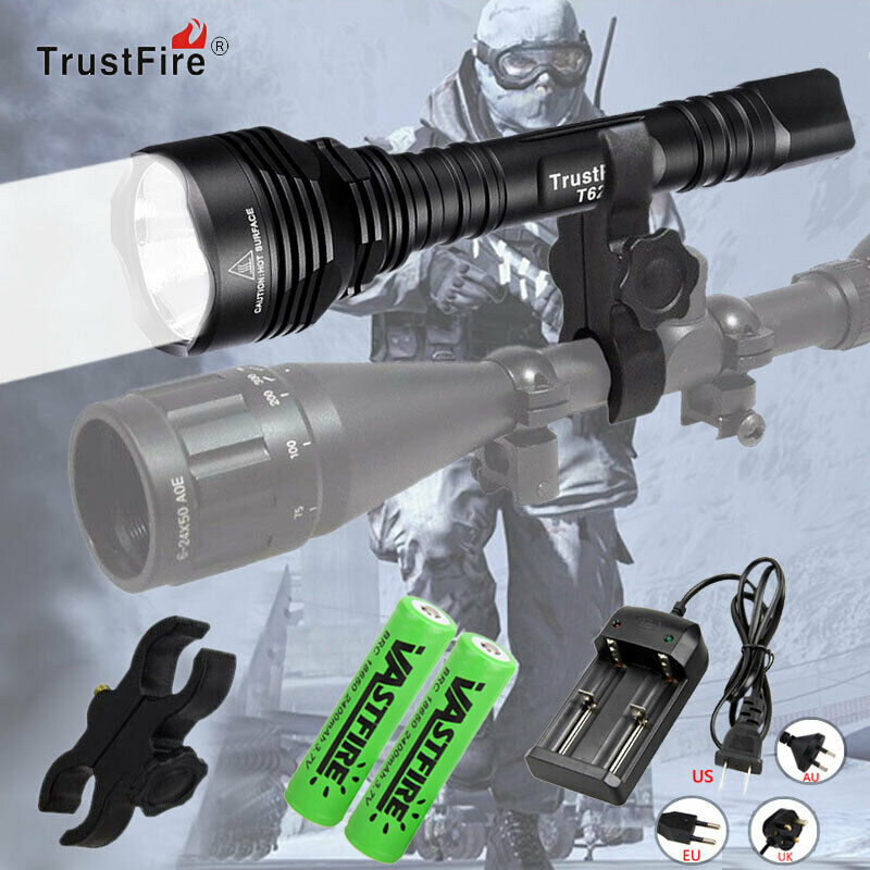 Trustfire T62 Predator Flashlight Rechargeable Hog Night Hunting Torch Ipx-8 Hot