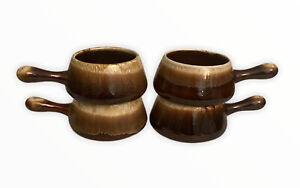 4 MCM McCoy Pottery Drip Glaze French Onion Handled Soup Chili Bowls 7054 USA