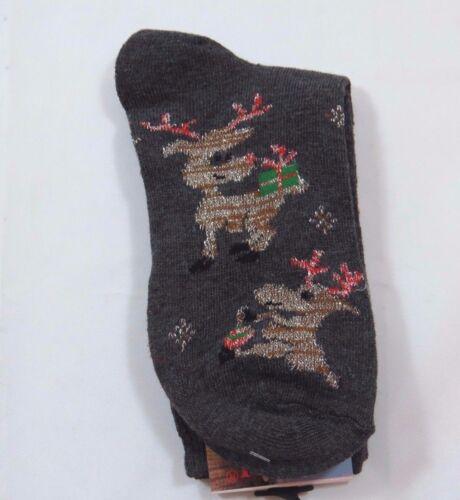 Christmas Reindeer Crew Socks Womens 9-11 gray Grey Sparkle