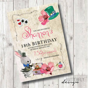Details About Kids Adult Madhatter Tea Party Personalised Birthday Invitations X 8