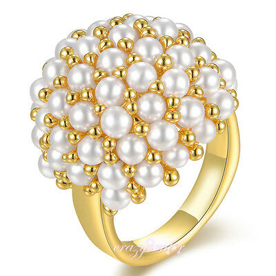 Fashion Women Pearl Cluster Dome Cocktail Rings Yellow Gold plated Gift R1161