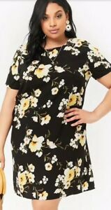 Forever-21-Floral-Print-Shift-Mini-Tee-T-Shirt-Dress-Black-Yellow-Plus-Size-2X