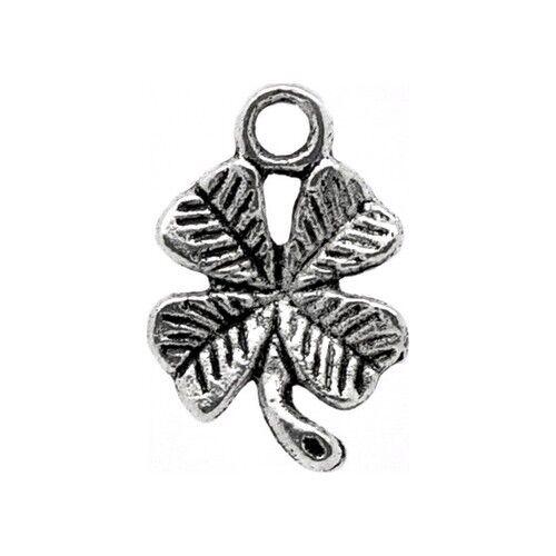 10 Breloques /_ FEUILLE TREFLE arg 15X10mm /_ Perles charms création bijoux /_ B056