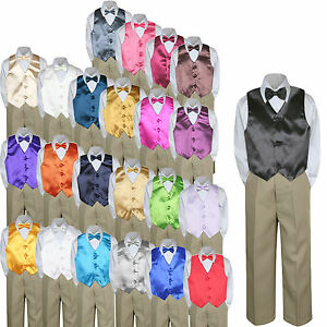 03473f82b9d7 23 Color 4pc Boys Suits Vest Bow Tie Set Baby Toddler Kid Formal ...