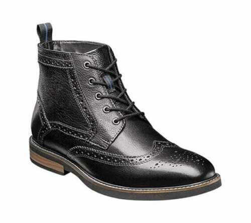 Men/'s Nunn Bush Odell Wingtip Chukka Boot Black Tumbled Leather